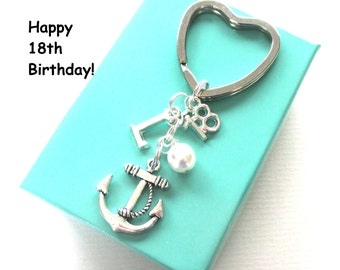 18th birthday gift - Anchor keychain - Personalised 18th keyring - 18th birthday - Anchor keyring with pearl - Initial keyring - UK seller