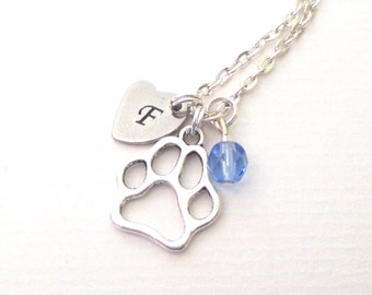 Personalised Paw necklace - Cat paw - Dog paw - Cat lover gift - Paw charm necklace - Dog lover gift - Birthstone necklace - UK seller