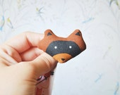 Moonrise Kingdom Brooch, Raccoon, scout, sam, bandit pin, accessory, badge, woodland animal, 2 x 2.4 inch, brown and black