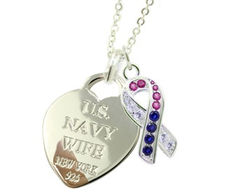 Sterling Silver Navy Wife Necklace  (Free Shipping)