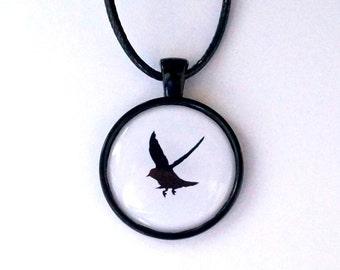 Flying bird - bird - silhouette necklace