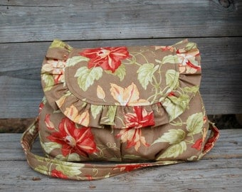 Ruffle Purse, Fabric Shoulderbag, Ruffle bag, Coral, Peach, Brown Fabric,Cotton Purse, Fabric Shoulder bag, Coral and peach flower on  brown