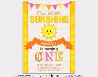 Little Sunshine Birthday Invitation Girl Pink Yellow First Birthday Invitation Girl Little Sunshine Invitation - Printable Digital File