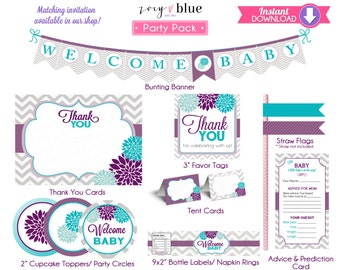 Purple Turquoise Floral Invitation Party Pack - Floral Aqua Baby Shower Party Kit Banner Thank You - Instant Download Printable