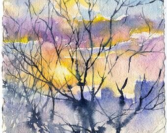 "Sunset watercolor painting - fine art print sun painting, ""Sunset over the city"", sunset art print"
