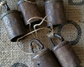 Antique/vintage metal cow or goat bells rustic decor