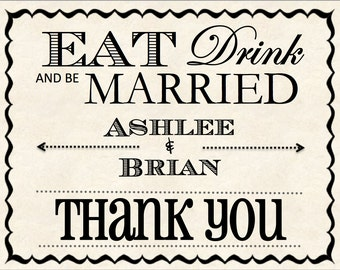 Thank You Cards - Eat Drink and Be Married  (Pack of 10)