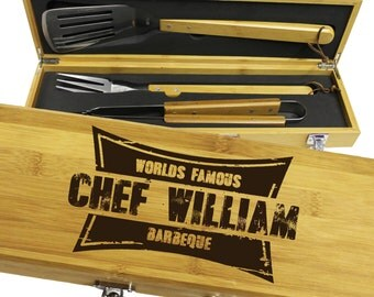 Personalized Grill Set, BBQ Set, Grill Tools, Grill Accessories, Grilling Gifts for Him, Dad Gifts, Grill Master, Barbecue Grill Tools