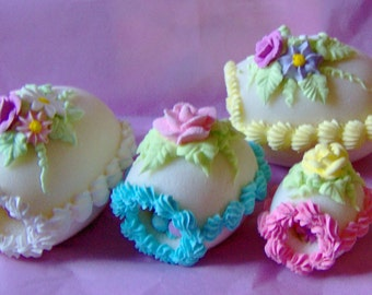 Lovely Panoramic Sugar Easter Eggs MEDIUM size-beautiful Easter basket treat,Easter egg hunt prize, nostalgic Easter decoration,