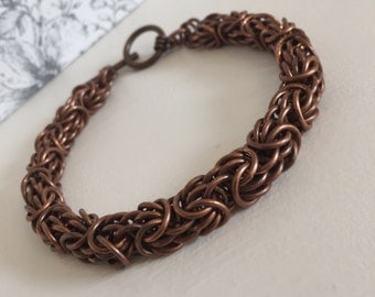 Dark Copper Chain, Antique Copper Bracelet, Mens Chainmail Bracelet, Copper Bangle, Copper Anniversary Gift, Mens Chain Jewelry,