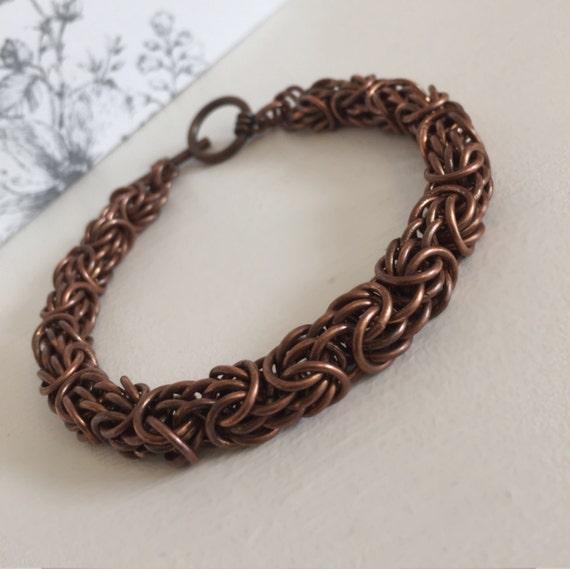 dark copper chain antique copper bracelet mens chainmail. Black Bedroom Furniture Sets. Home Design Ideas
