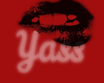 Yass Lip Bite Sassy Artwork Deep Red and Black.