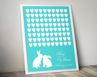 Kissing Rabbits Wedding Guest Book Poster - for 80 Signatures