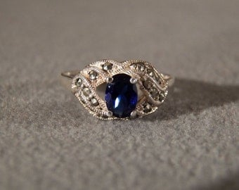 Sterling Silver Sapphire Ring with Marcasite set in a Decorative Setting, Size 8 Jewelry **RL