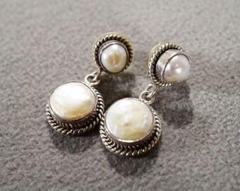 Vintage Sterling Silver 4 Round Cultured Pearl Fancy Scrolled Dangle Style Pierced Earrings #245    **RL