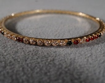 Vintage Traditional Style Yellow Gold Tone Rhinestone Multi Colored Bangle Bracelet Jewelry    K#32