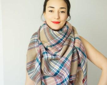 Christmas Gifts Blanket Scarf Blanket Scarves Plaid Tartan Scarf Zara blanket Winter accessories Oversized scarf Plaid Blanket Scarf Gift