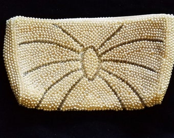 Beaded Arachnid Spider Clutch in Ivory