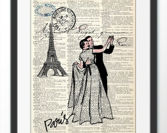 PARIS with Love, Dictionary Art Print, Art Print Home decor, Wall decor, Anniversary gift, Love Paris