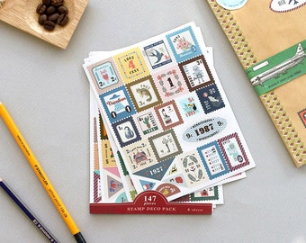 STAMP DECO PACK Sticker - 147 pieces 6 sheets