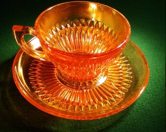 Marigold Carnival Glass Single Teacup and Saucer