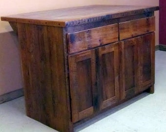 Reclaimed Barn Wood Kitchen Island With Wooden Top