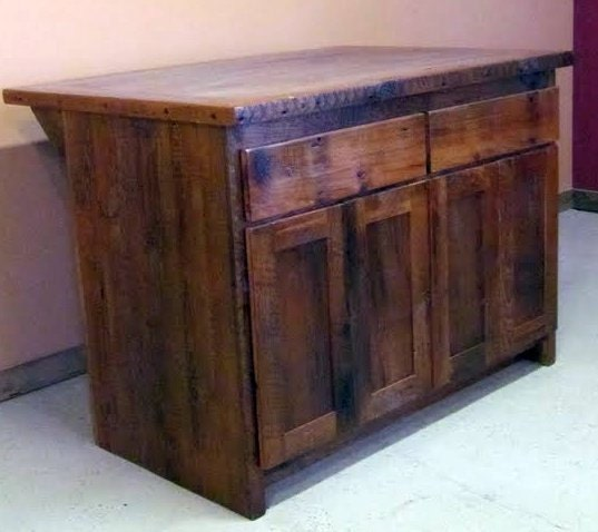 Barn Wood Kitchen: Reclaimed Barn Wood Kitchen Island With Wooden Top