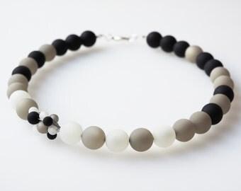 black necklace white polaris necklace black white gray