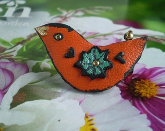 Cheeky Bird..Brooch in Recycled Orange Leather.