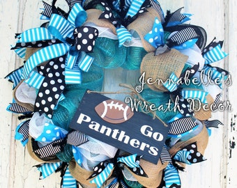 Carolina Panthers Wreath, Mesh Wreath, Panthers, NFL Football