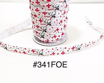 "2/3/5 yard - 5/8"" Nurse, Stetoscope, Needle and Red Cross White Fold Over Elastic Headband Hair Accessories"