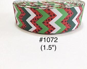 "3 or 5 yard - 1.5"" Watermelon inspired Chevron Grosgrain Ribbon Hair bow"