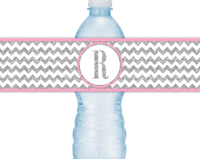 Printable Silver Chevron and Pink Water Bottle Labels, CUSTOM Silver Monogram, you print, you cut, DIY