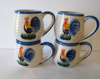 Vinage ceramic rooster mugs, Alco Industries, Inc. ceramic coffee mugs, rooster home decor