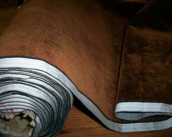 Antique Victorian French Silk Velvet Fabric in Rich Brown Cinnamon