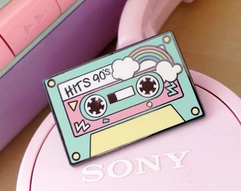 Enamel pin Music cassette 90 Candy Party kawaii Pastel Pins