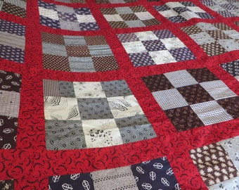 Vintage Quilt Irish Chain Pattern Heavily By