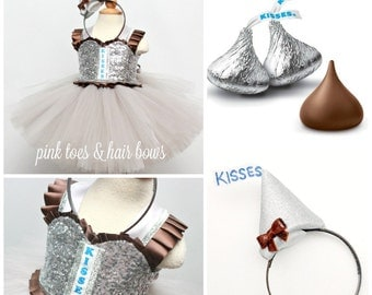 Hershey Kisses tutu dress- hershey kisses costume- hershey kisses tutu-kisses dress-valentine dress-hershey kiss costume-kisses
