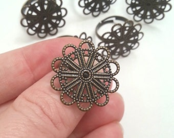 Adjustable Unique Bronze Filigree Ring Blanks Set of 6 Perfect for Cabochon and Other Glue On Decorations 23mm