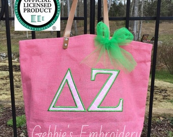 Delta Zeta Licensed Sorority Mud Pie Totes with Applique and Matching Bow, Sorority Bag with Greek Letters, Sorority Carryall