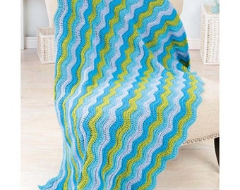 Deborah Norville Sea Glass Ripple Crochet Afghan Kit BRAND NEW (sealed) with yarn and instructions, turquoise, chartreuse, teal, blue white