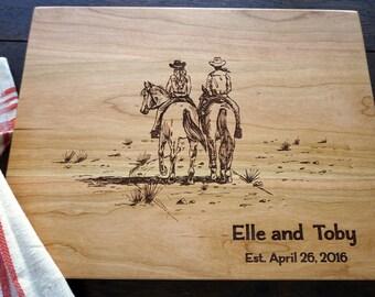 Couple Riding Custom Cutting Board Equestrian Gift for Birthday Christmas, Bridal Shower, Equine Kitchen Decor, Horse Custom Cutting Board