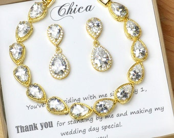 Gold Bridesmaid gifts Wedding Jewelry Bridesmaid Jewelry Bridal Necklace Bridesmaid Necklace Clear White Crystal earrings bracelet set