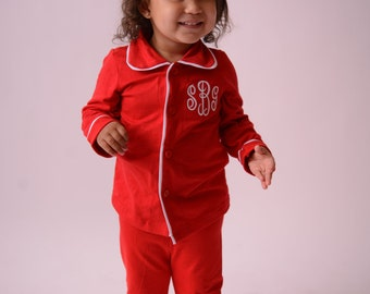 Christmas Pajamas for Kids Monogrammed in Sizes 3 Months to Adult -- Red Button down Christmas PJ's