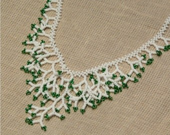 White Green Necklace. Xmas gift. Gift For Women. Bridal Necklace. Beadwork