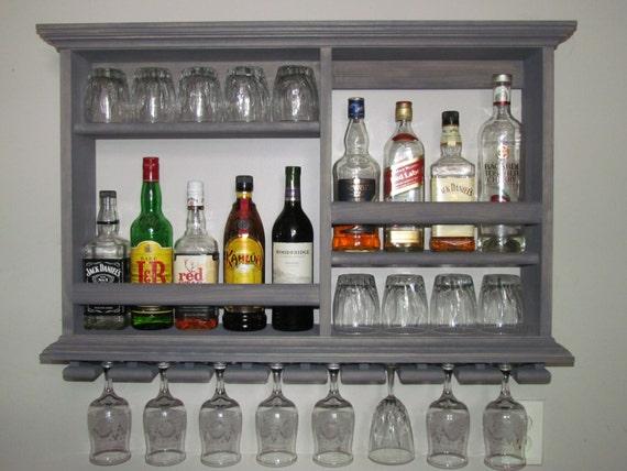 Mini Bar Weathered Gray Wine Rack Liquor Cabinet 3 X