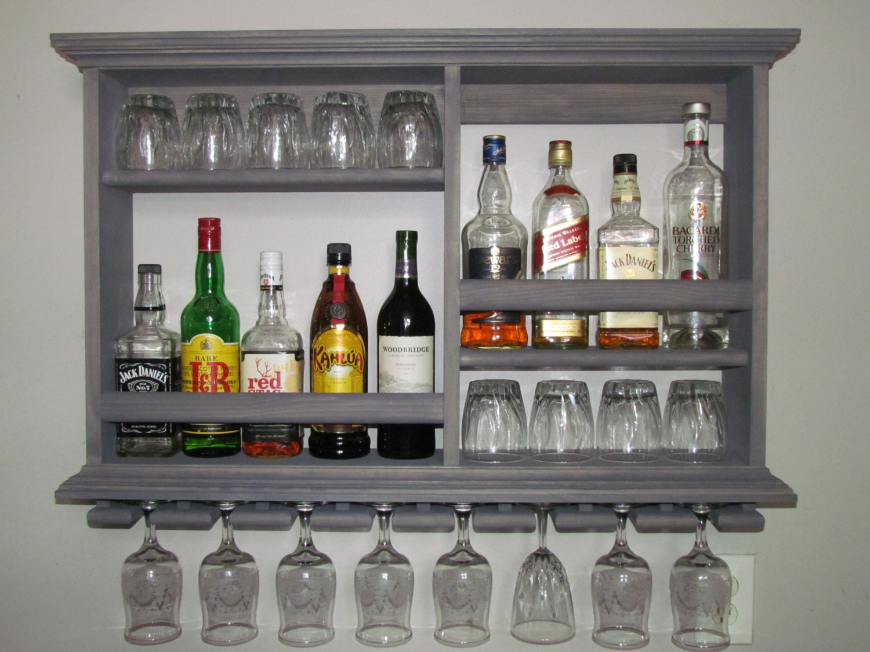Mini Bar Weathered Gray Wine Rack Liquor Cabinet 3 39 X