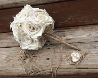Burlap Toss Bouquet, Wedding Bouquet, Burlap Wedding Bouquet, Cream Bouquet, Ivory Wedding, Burlap, Bride, Bridesmaid Bouquet, Toss Bouquet