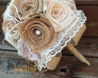 Lace Burlap Bouquet, Wedding Bouquet, Burlap Wedding Bouquet, Lace Bouquet, Burlap and Lace, Burlap, Bride, Bridesmaid Bouquet, Toss Bouquet