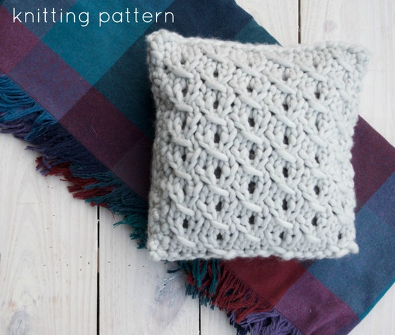 PATTERN Chunky Knit Pillow Small Knit Cushion from HandcraftedVintageCo o...